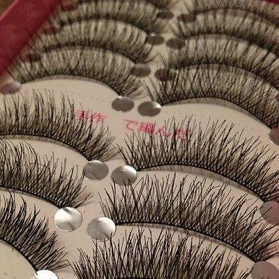 Pro 10 Pairs Makeup Beauty False Eyelashes Eye Lashes Extension Long Thick Cross