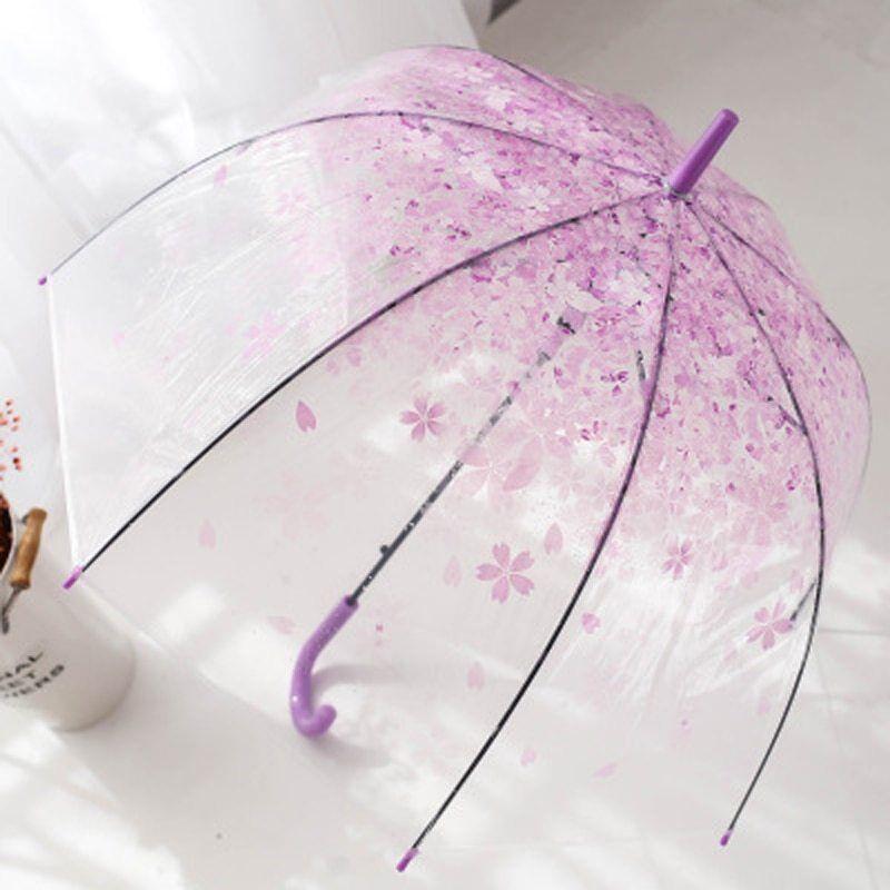 Flower print long-handle children clear umbrella women fashion sun parasol ,New!