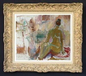 RAYA SAFIR (1909-2004) PEINTURE FAUVISTE FEMME NUE DANS L'ATELIER 1950 (28)