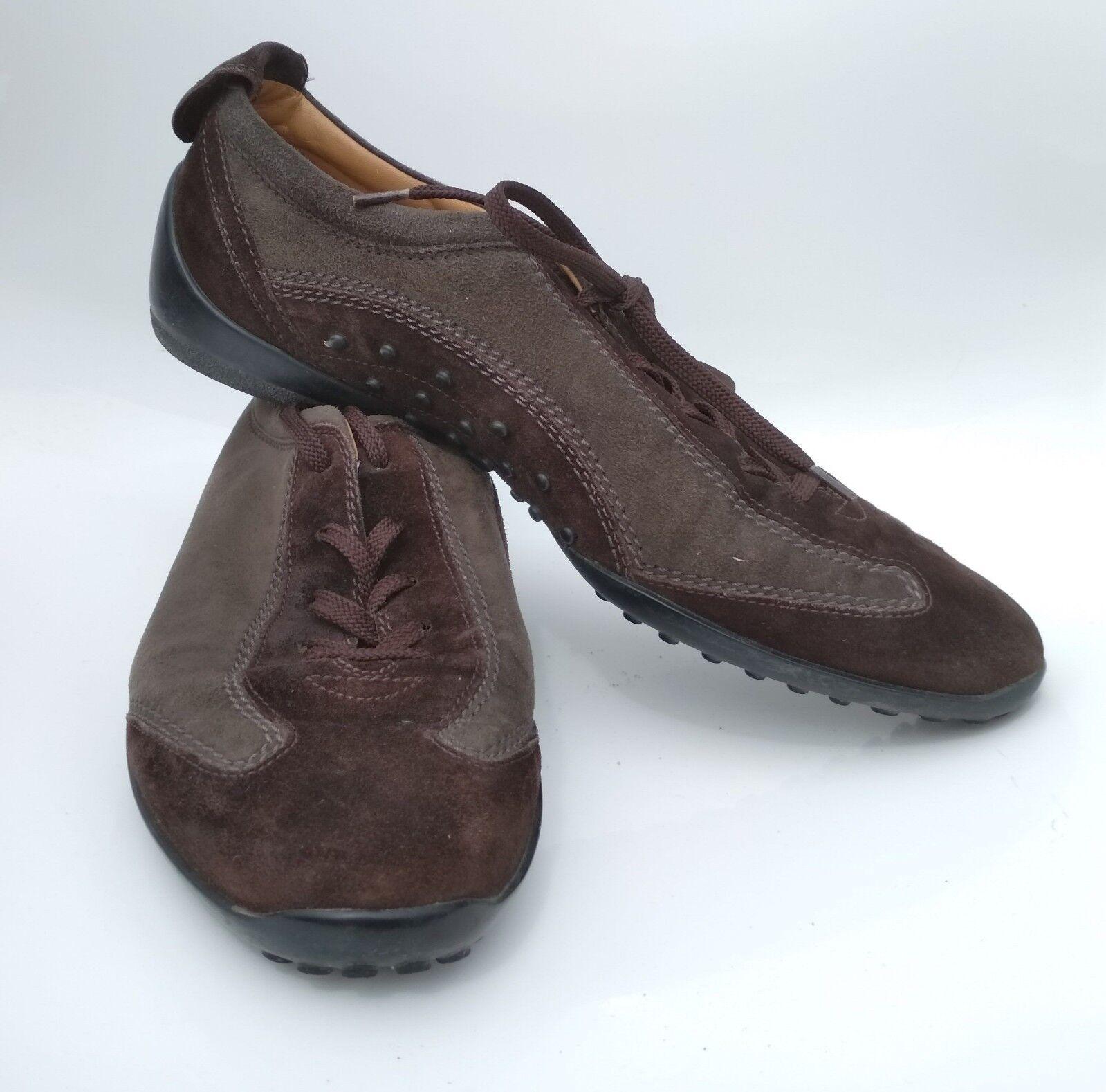 TOD`S Damen Leder Gr Schuhe Sneaker BiFarbe  dunkelbraun olivgrün Gr Leder 40 Sportschuh 72c631