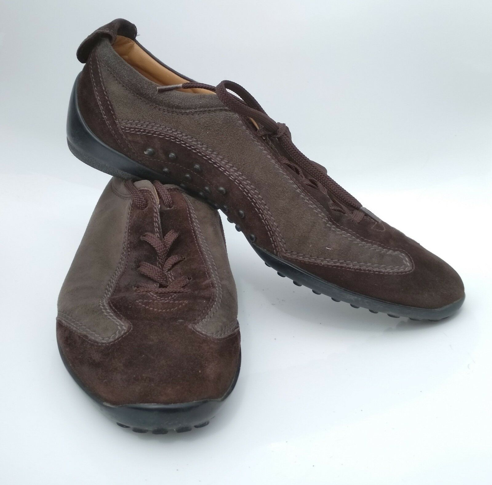 TOD'S femmes chaussures En Cuir Turnchaussures BiCouleure marron Foncé vert Olive T 40 Sport Chaussure
