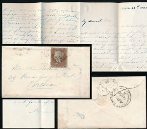 PENNY RED 1855 to SHIP COMMANDER KELSALL PERSONAL LETTER +CONDUIT STREET in BLUE