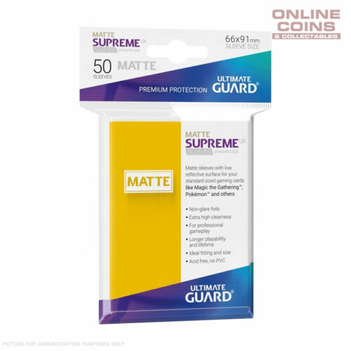 Pack of 50 YELLOW Ultimate Guard SUPREME UX MATTE Standard Card Sleeves