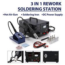 800w 853d Smd Rework Station Hot Air Gun Soldering Iron Dc Power Supply 3 In 1
