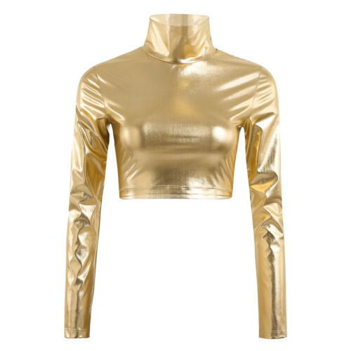 Womens Metallic Mock Neck Shiny Wet Turtleneck Crop Top ballet Dance costume