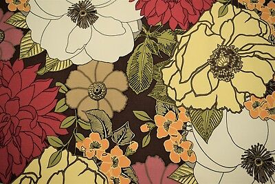 """100/% Cotton Canvas Duck Floral Plain Weave Upholstery Drapery Print Fabric 55/""""W"""