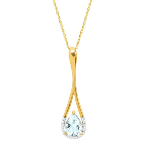 1 1//3 ct Natural Aquamarine Teardrop Pendant with Diamonds in 10K Gold