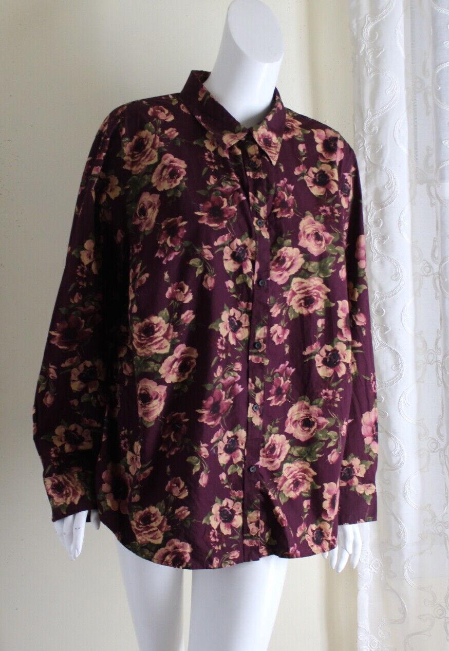 Chaps Sz 3X Quintessential Classic Rosa Antique Feminine lila Blouse Shirt Top