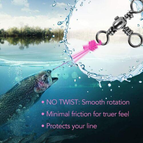 100pcs 3 Way Fishing Barrel Swivel Cross Line Solid Ring Snap Connector 2#-10#