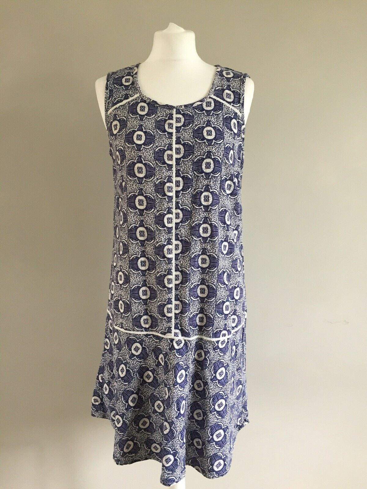 Next Linen Blend Tunic Floral Sun Dress Size 12 Blue Summer Holiday
