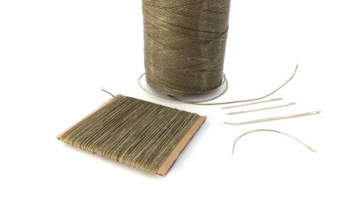 Khaki fuerte 1mm de espesor de mano de cuero encerado Agujas De Coser Costura Hilo /&