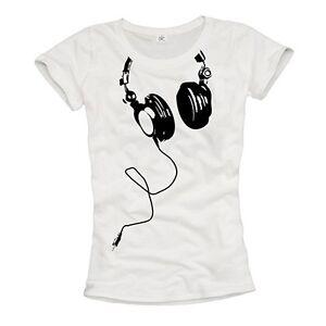 damen shirt mit dj kopfh rer weiss schwarz musik party cool geschenk gr s m l ebay. Black Bedroom Furniture Sets. Home Design Ideas
