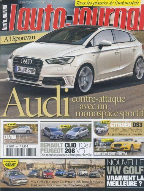 L'AUTO JOURNAL n°868 du 15/11/2012