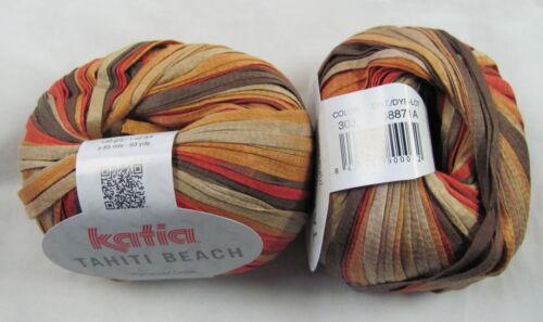 50g Katia TAHITI BEACH Colorful Spring Summer Cotton Ribbon Yarn #303 CLOSE-OUT