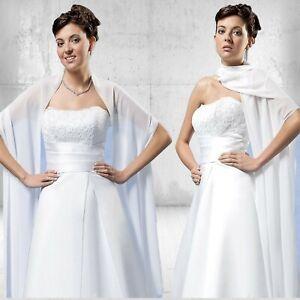 Stola-Schal-Brautstola-Brautkleid-Hochzeit-Chiffon-Gr-230-cm-x-50-cm-creme