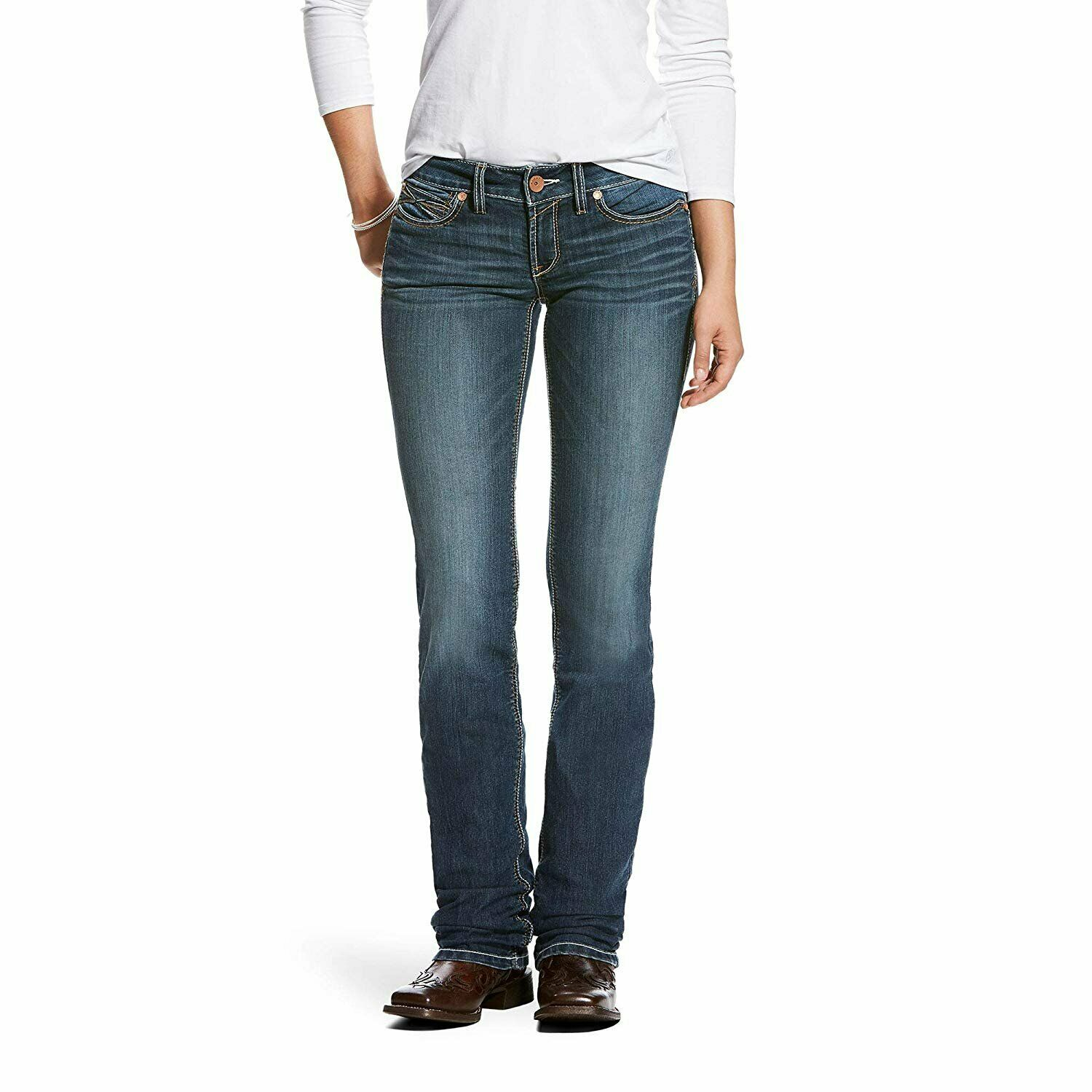 Véritable ARIAT taille basse Handcrafted Empilable Coupe Droite Jean