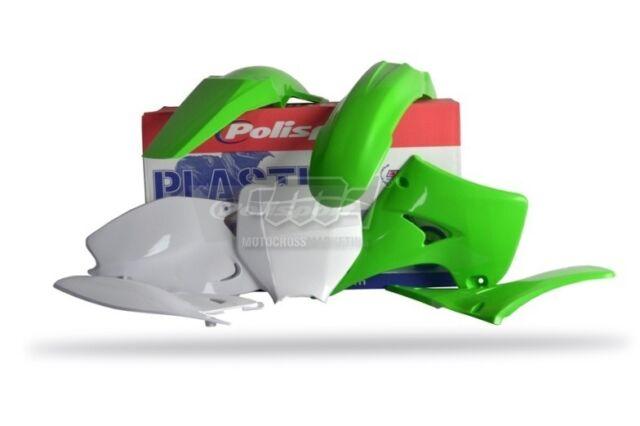 Polisport Set Plástico Completo MX Cross Verde Blanco Kawasaki KX 250 2003-08