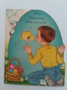 1960s-Vtg-GRANDSON-Peeks-into-EASTER-Egg-Fold-Out-CHICK-Norcross-GREETING-CARD