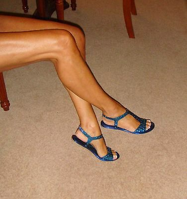 NEW Spot On Shoes Size 4 (37) Metallic Blue/Clear Studded Strappy Flat Sandals