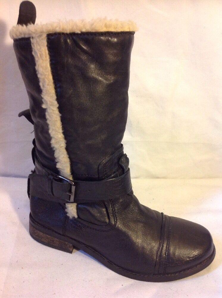 Aldo Black Ankle Leather Boots Size 36