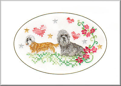 Tibetan Terrier Birthday Card or Notecard Embroidered by Dogmania