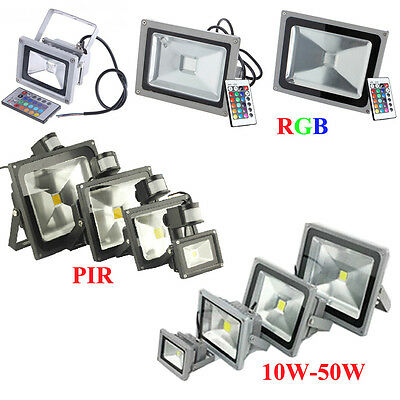 10W 20W 30W 50W LED RGB PIR Flood Spot Light Outdoor Landscape Garden Wall Lamp