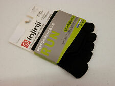 INJINJI TOE SOCKS RUN 2.0 LIGHTWEIGHT NO SHOW BLACK SIZE M