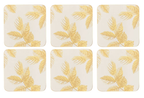 Sara Miller Etched Leaves Grey Coasters Set of 6 Cork Backed Barware Tablemat
