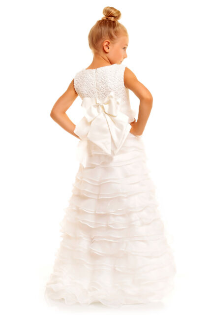 Ivory Flower Girl Party Bridesmaid Pageant Full Length Long Train Dress 4-10Year