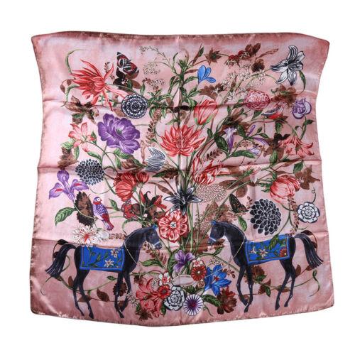 Women Square Satin Scarf Floral Scarves Bandanas Head Neck Wrap Shawl LA