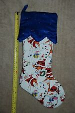 New Christmas Holiday Stocking Fun Santa Reindeer Gifts Snow White Red Blue