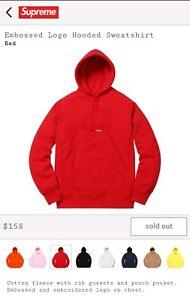 Supreme-Red-Embossed-Box-Logo-Hooded-Sweatshirt-Hoodie-Size-XL