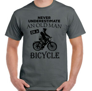 e7d8b6db Never Underestimate An Old Man With A Bicycle Mens Funny Cycling T ...