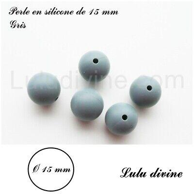 lot de 10 Perle en silicone ronde de 15 mm silicone alimentaire Noir