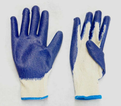 36 Pairs Cotton //Poly Work Gloves  Lg or X-lg w// Blue Latex Coated Palm Finger.