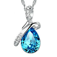 925 Sterling Silver Teardrop Pendant Necklace Chain Women Jewelry Ladies Gift