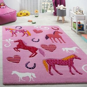 Kids Pink Rug Animals Horses Girls Carpets Bedroom Nursery
