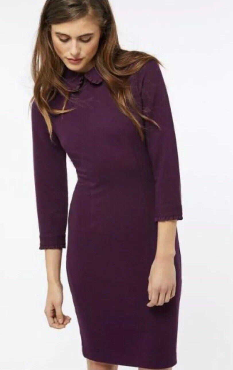 BNWT  MONSOON  Taglia 16 UK CLAUDET Kilim Kilim Kilim Berry Borgogna costine colletto dress new 010592