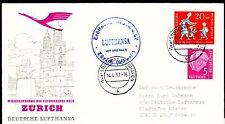 """Erstflug FFC LH  """"Stuttgart - Zürich"""" 14.04.1957 !! HS 139  -selten-"""