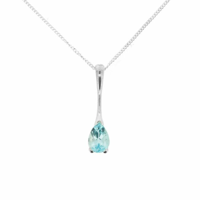 Jewellery Ladies Sterling Silver Real Blue Topaz Tapered Drop Pendant Necklace