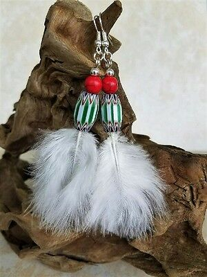 Native American Earring Set Turquoise Silver Beads Eagle Plume Cherokee Regalia