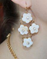 Kate Spade Crystal Corsage Mother Of Pearl Bridal Floral Chandelier Earrings