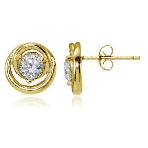 Gold-Tone-over-Sterling-Silver-Cubic-Zirconia-Evil-Eye-Stud-Earrings
