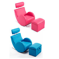 Pink/blue Kids Sofa Sets Rocking Storage Armchair Lazybones Pu Leather Furniture