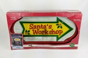 Santa-039-s-Workshop-Lighted-Musical-Sign-3-ft-Tall-W-Stand-Light-Sound-Activated
