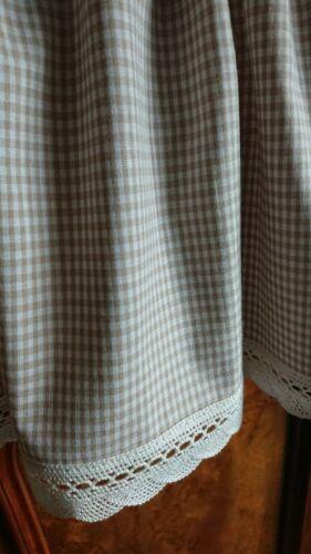 Karo weiß Landhaus Scheibengardine 100 //35 cm beige