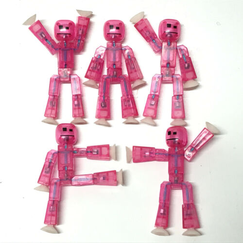 Lot5pcs Rare Zing Stikbot Pink ROBOT ANIMATION Single Action Figure Kid Toy Gift