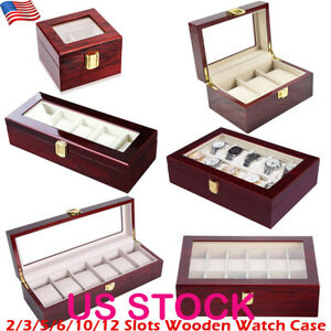 2-3-5-6-10-12-Slots-Leather-Watch-Box-Display-Glass-Top-Jewelry-Case-Organizer
