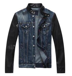 f654971c95e Image is loading Mens-leather-sleeve-denim-jacket-denim-jeans-autumn-