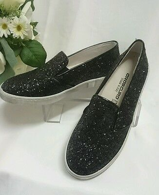 DAMEN SCHUHE Slipper GR 35 MADE IN ITALY Mokassins LEDER Schwarz Glitzer